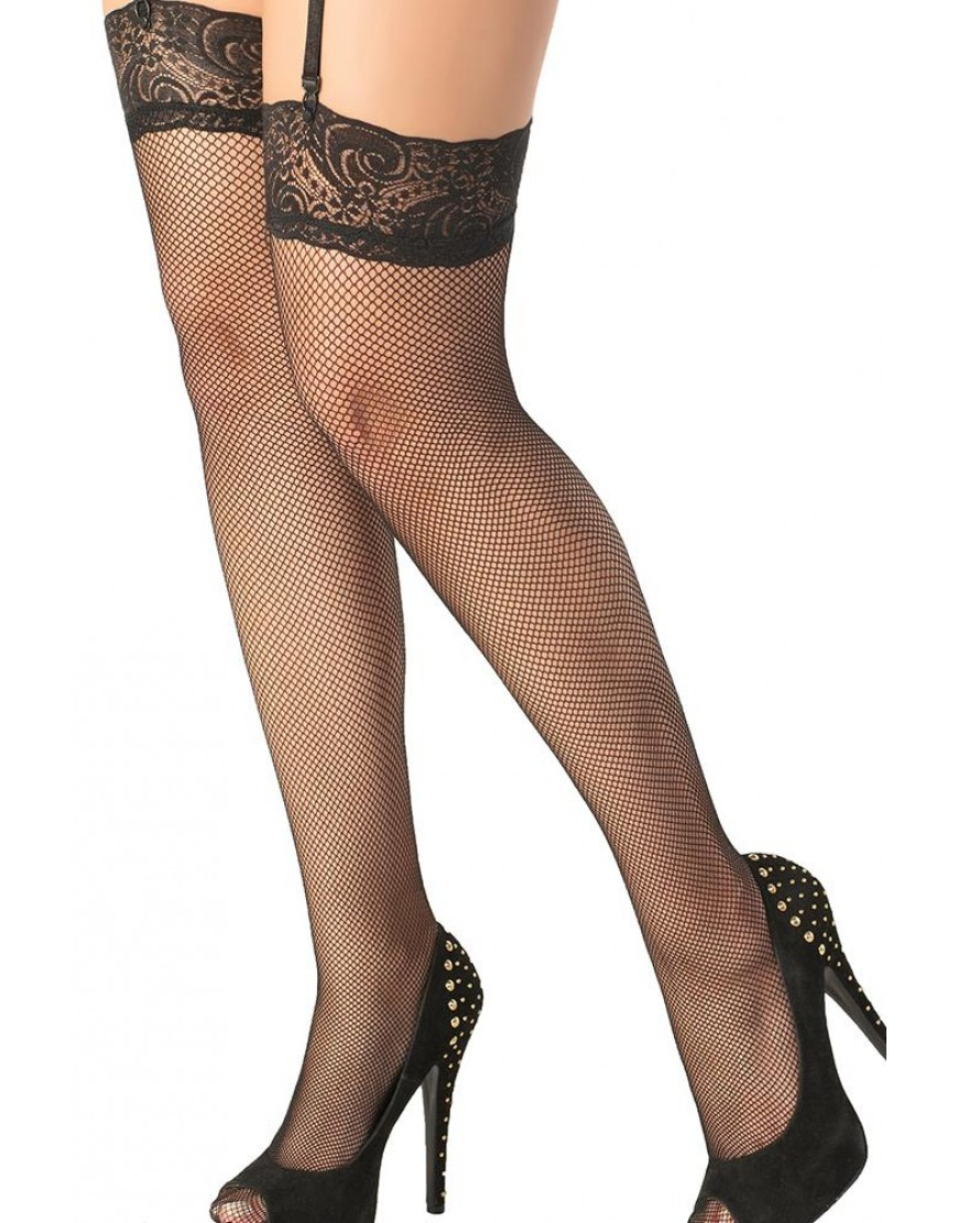 Lace Top Black Fishnet Thigh Highs O/S