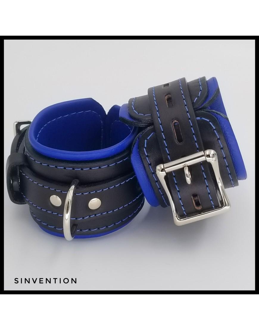 Deluxe Wrist Cuffs Black & Blue